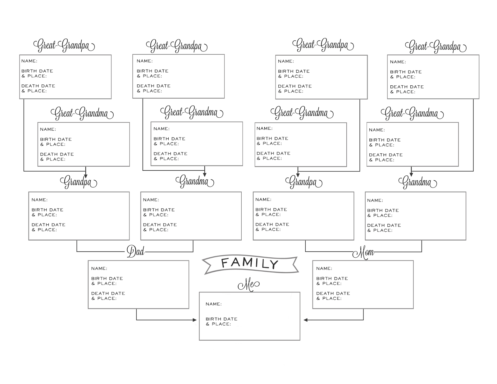 Printable Pedigree Chart | Ellipsis - Free Printable Genealogy Worksheets