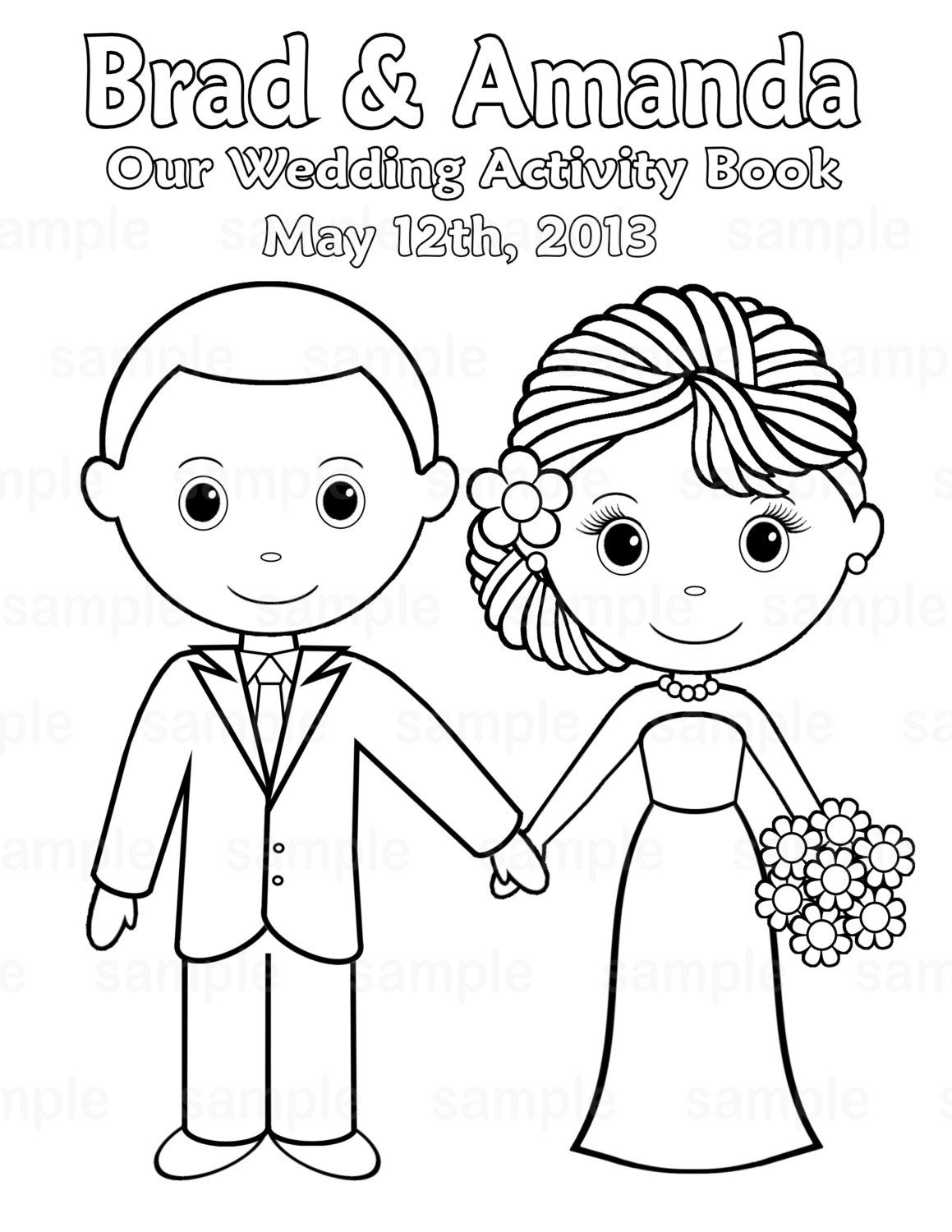 Printable Personalized Wedding Coloring Activity Book Favor Kids 8.5 - Free Printable Personalized Wedding Coloring Book