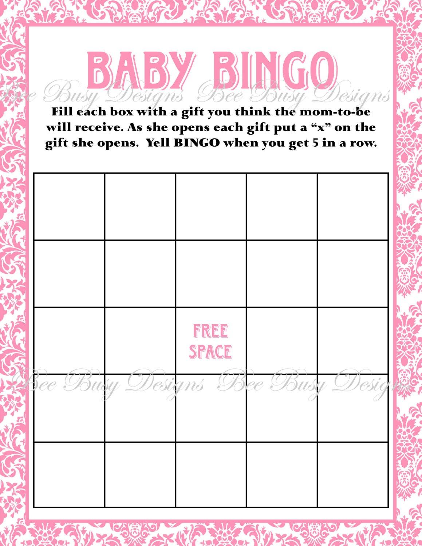 Printable Pink Damask Baby Shower Bingo Game | Bee Busy Designs - Free Printable Baby Shower Bingo