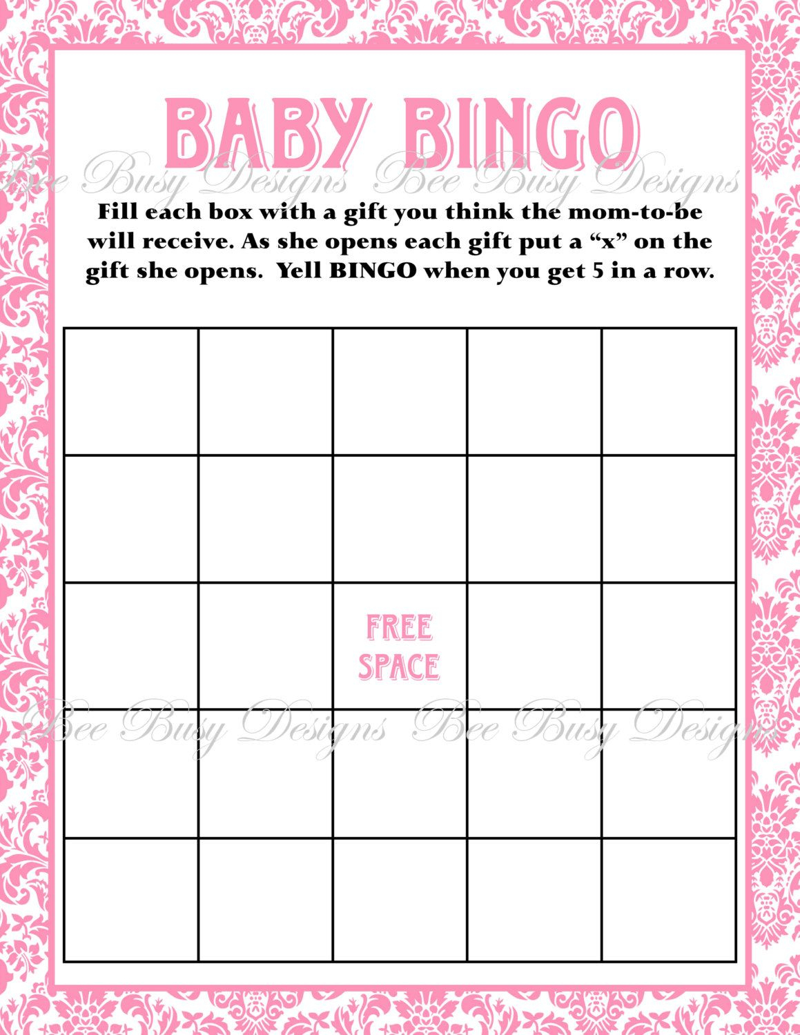 Printable Pink Damask Baby Shower Bingo Game Instant Download | Baby - Free Printable Baby Shower Bingo Cards Pdf