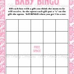 Printable Pink Damask Baby Shower Bingo Game Instant Download | Bee   Free Printable Baby Shower Bingo Cards