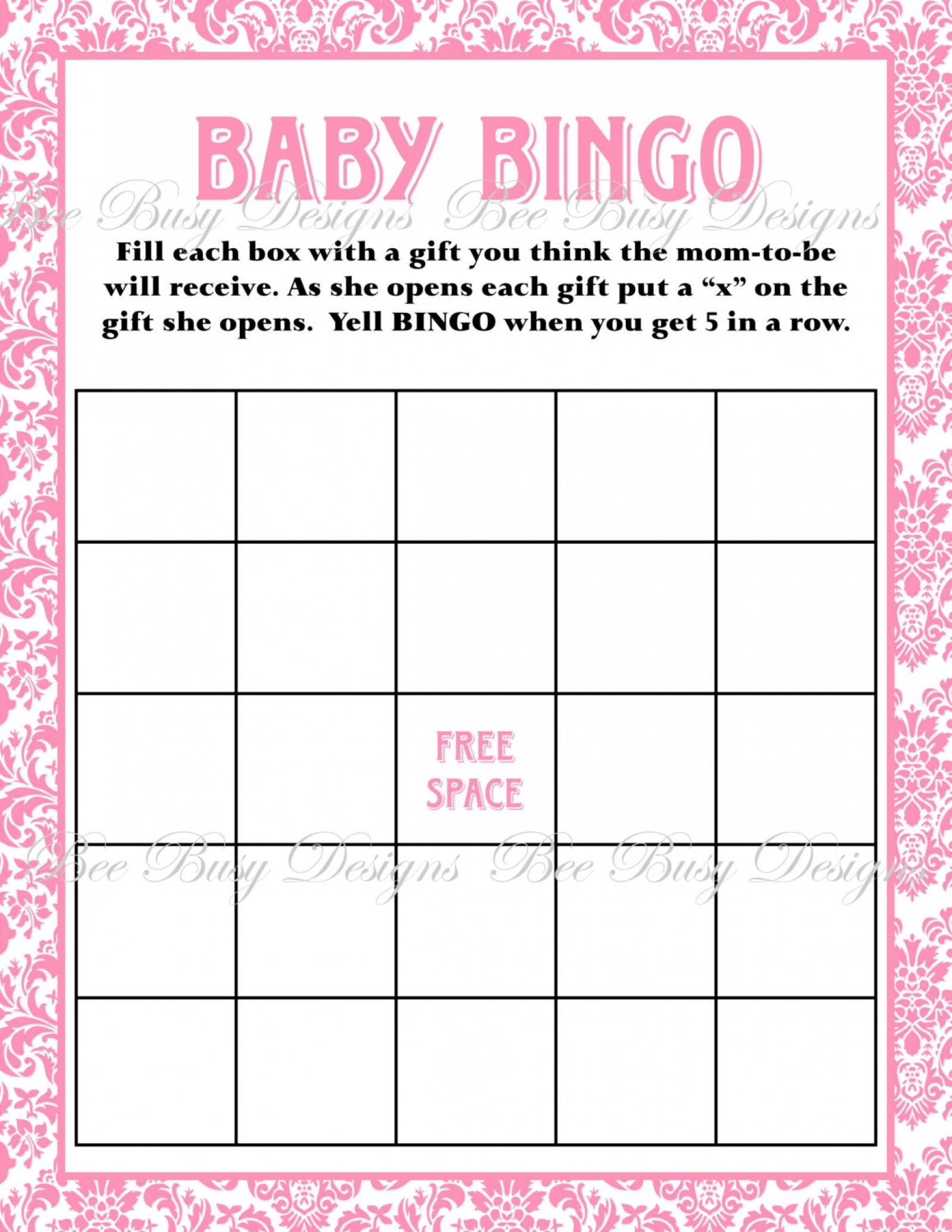 Printable Pink Damask Baby Shower Bingo Game Instant Download | Bee - Free Printable Baby Shower Bingo Cards
