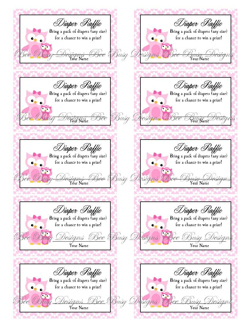 Printable Pink Mom With Little Girl Owl Diaper Raffle Tickets | Free - Free Printable Diaper Raffle Tickets Elephant