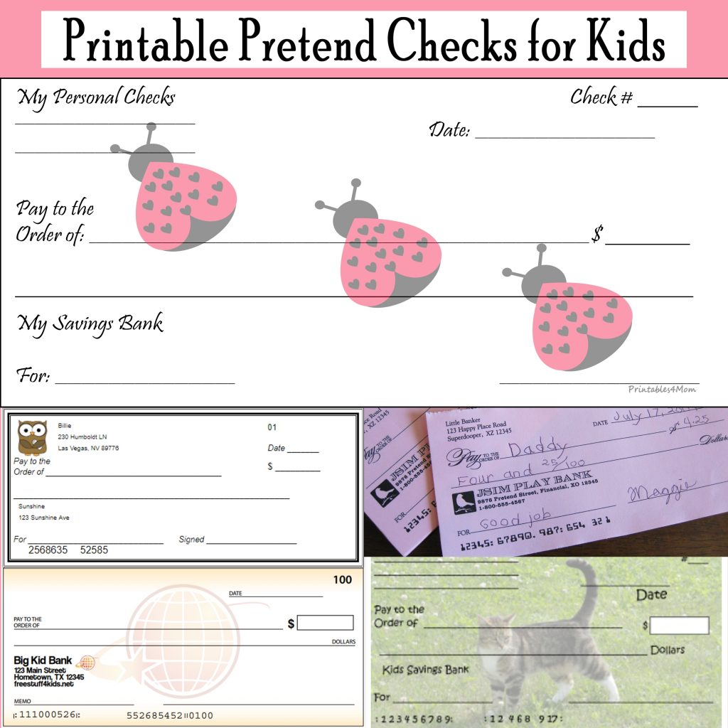 Printable Pretend Checks For Kids - Printables 4 Mom - Free Printable Play Checks