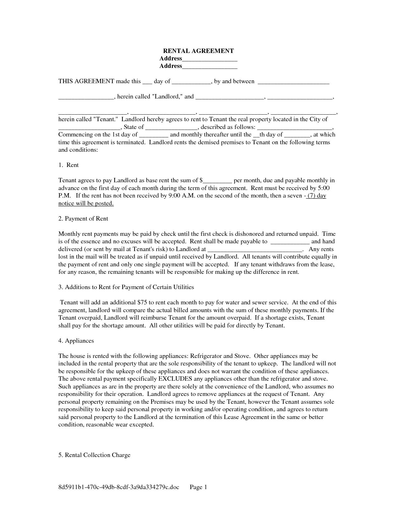 Printable Rental Lease Agreement Form For Free | Shop Fresh - Rental Agreement Forms Free Printable