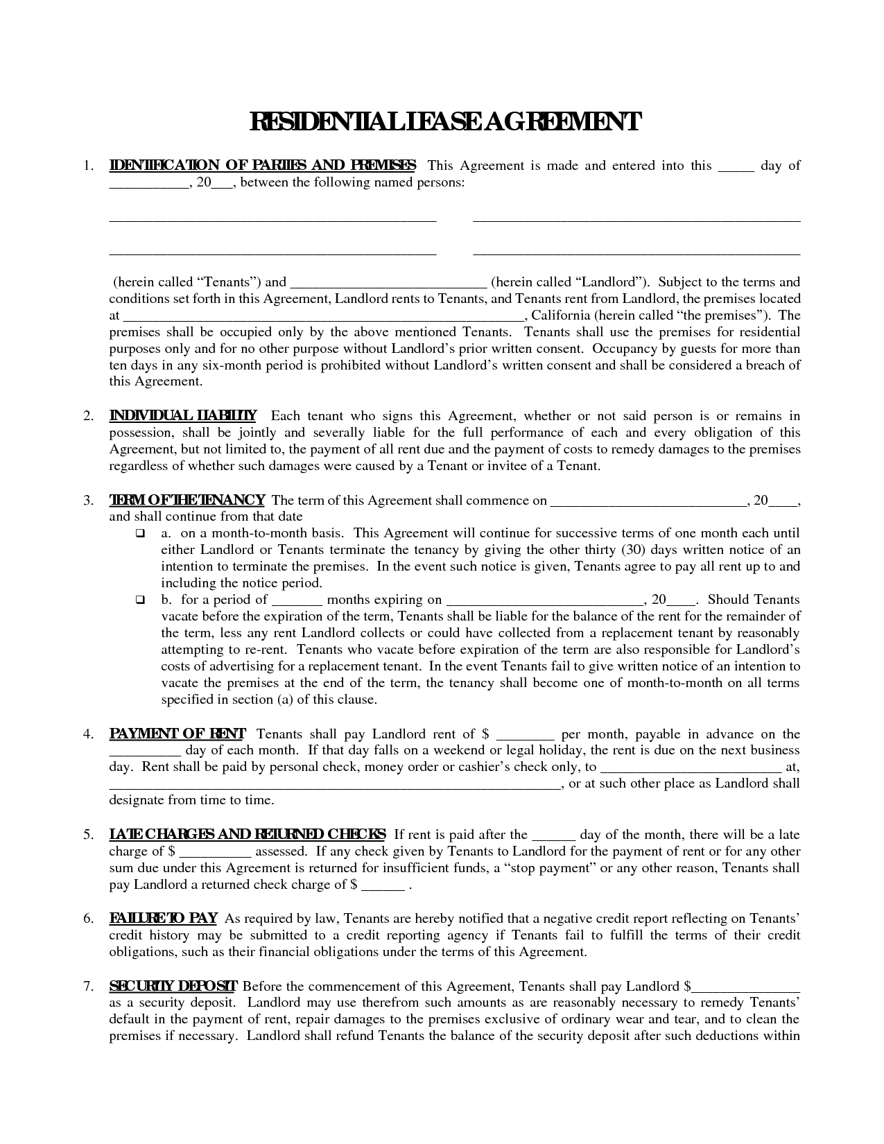 Printable Residential Free House Lease Agreement | Residential Lease - Free Printable Residential Rental Agreement Forms
