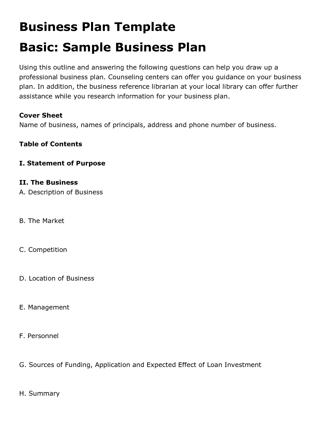 Printable Sample Business Plan Template Form | Forms And Template In - Free Printable Simple Business Plan Template