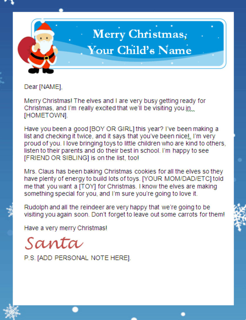 Printable Santa Letters - Personalized, Printable Letters From Santa - Free Personalized Printable Letters From Santa Claus