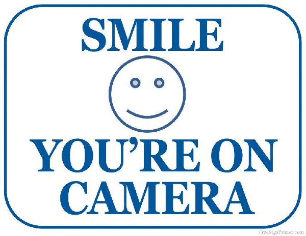 Printable Smile You're On Camera Sign   Lander Building In 2018 - Free Printable Smile Your On Camera