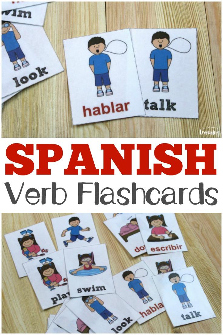 Printable Spanish Flashcards: Spanish Verb Flashcards - Free Printable Spanish Verb Flashcards