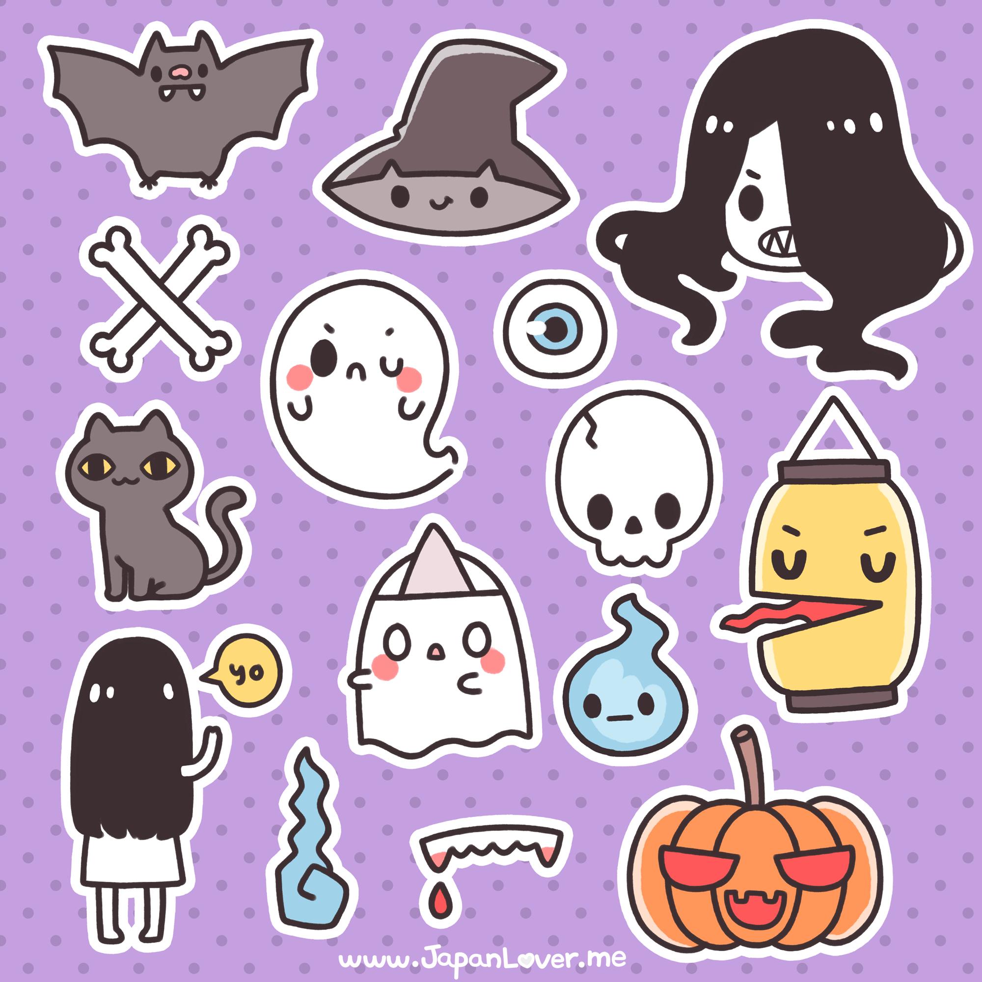Printable Spooky Kawaii Stickers For Halloween! | Kawaii Japan Lover Me - Free Printable Kawaii Stickers