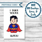 Printable Super Hero Card Superman Valentine's Day | Etsy – Free Printable Superman Valentine Cards