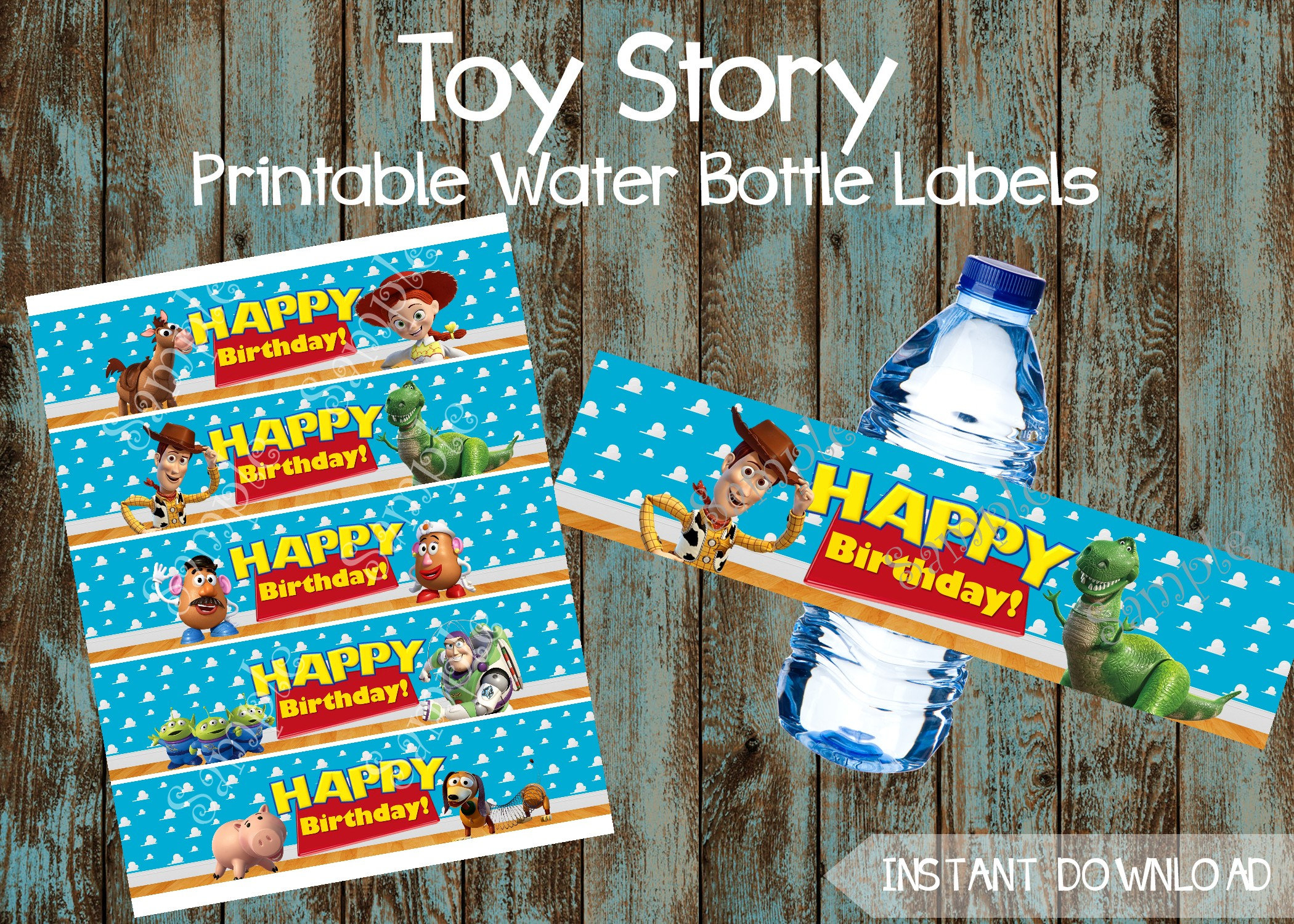 Printable Toy Story Water Bottle Labels Toy Story Lables Toy | Etsy - Free Printable Toy Story Water Bottle Labels