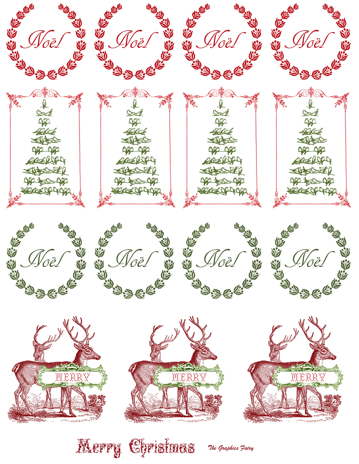 Printable - Vintage Christmas Stickers - The Graphics Fairy - Free Printable Holiday Stickers