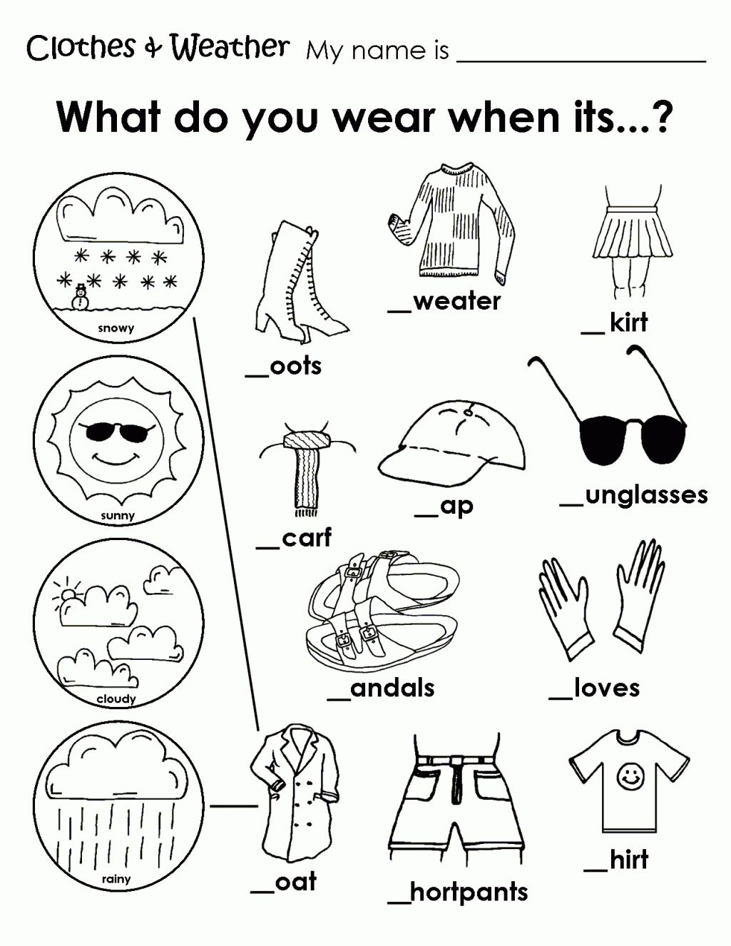 Printable Weather Clothes Worksheet | Memory Care Activities - Free Printable Seasons Worksheets For Kindergarten