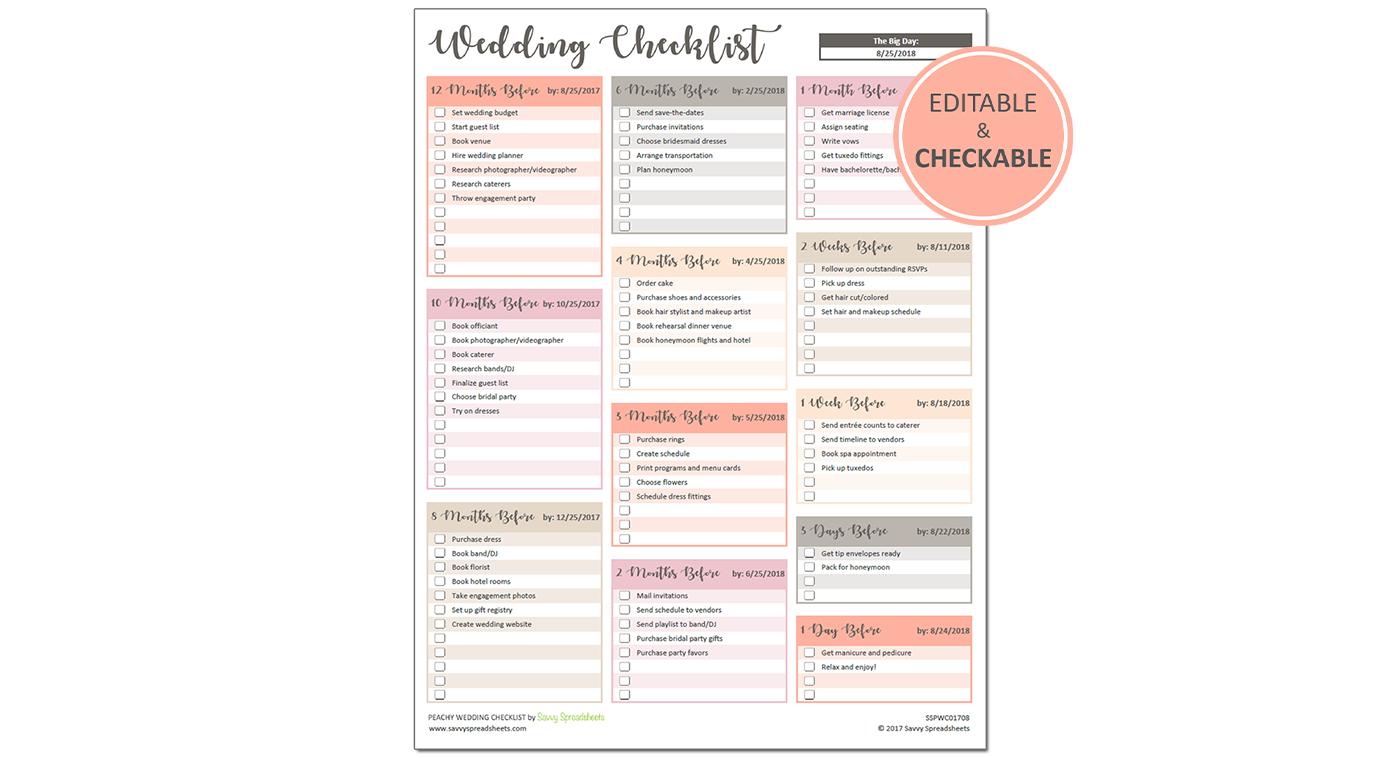 Printable Wedding Checklist - Excel Template - Savvy Spreadsheets - Free Printable Wedding Checklist
