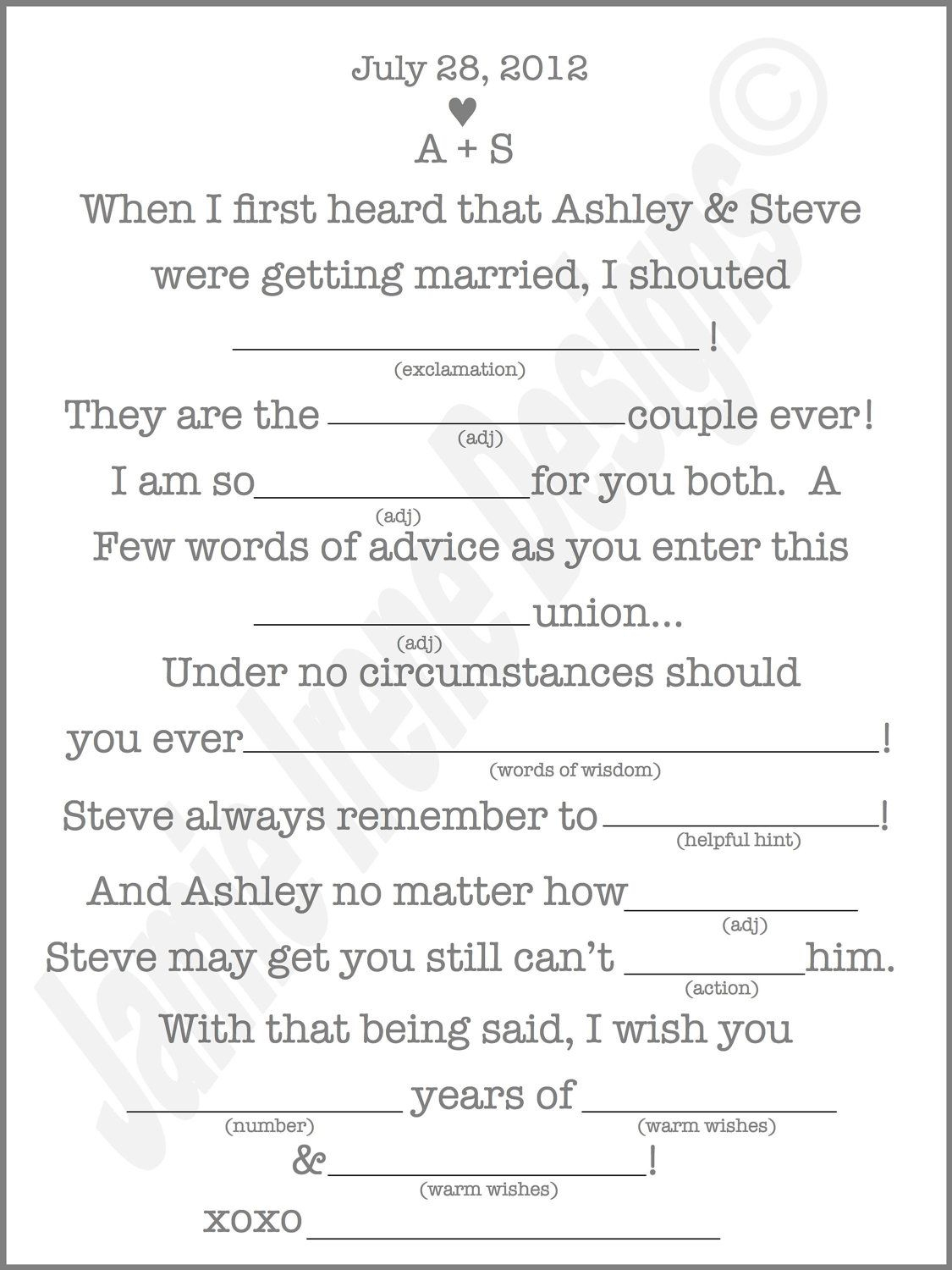 Printable Wedding Mad Lib A Fun Guest Bookweddingsbyjamie - Free Printable Wedding Mad Libs