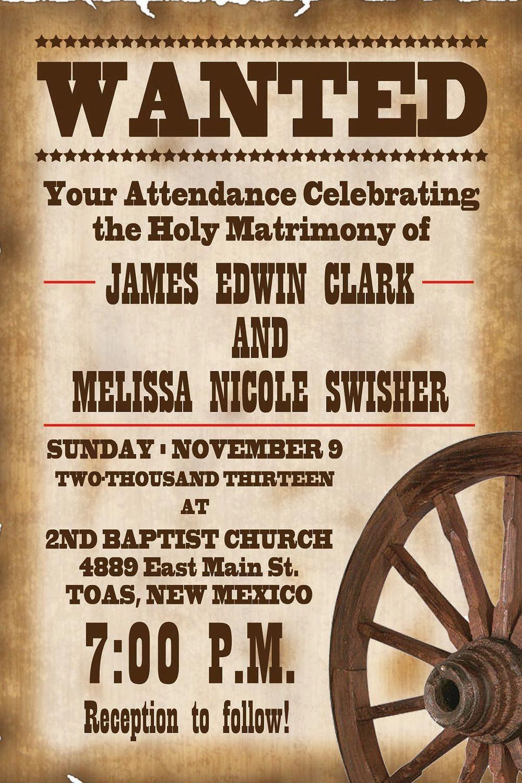 Printable Western Templates | Wedding Invitations Free Printable - Free Printable Wanted Poster Invitations