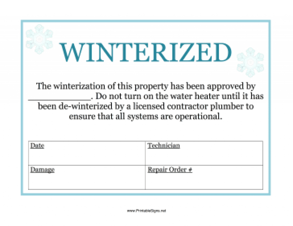 Printable Winterized Sign Sign Throughout Free Printable - Free Printable Winterization Stickers