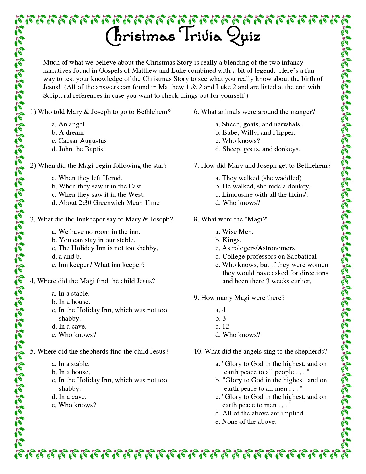 Printable+Christmas+Trivia+Questions+And+Answers | Christmas - Free Christmas Picture Quiz Questions And Answers Printable