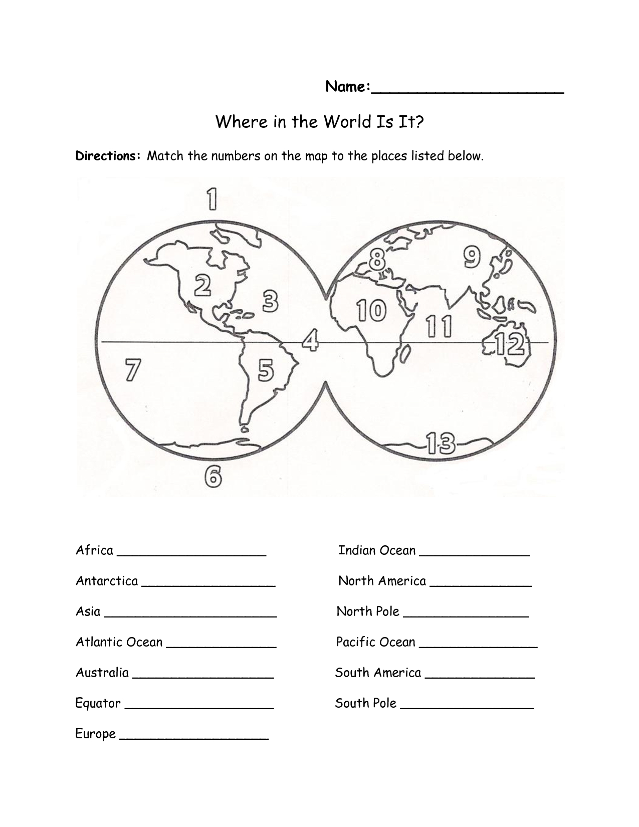 Printables Continents And Oceans Of The World Worksheet - Free Printable Map Of Continents And Oceans