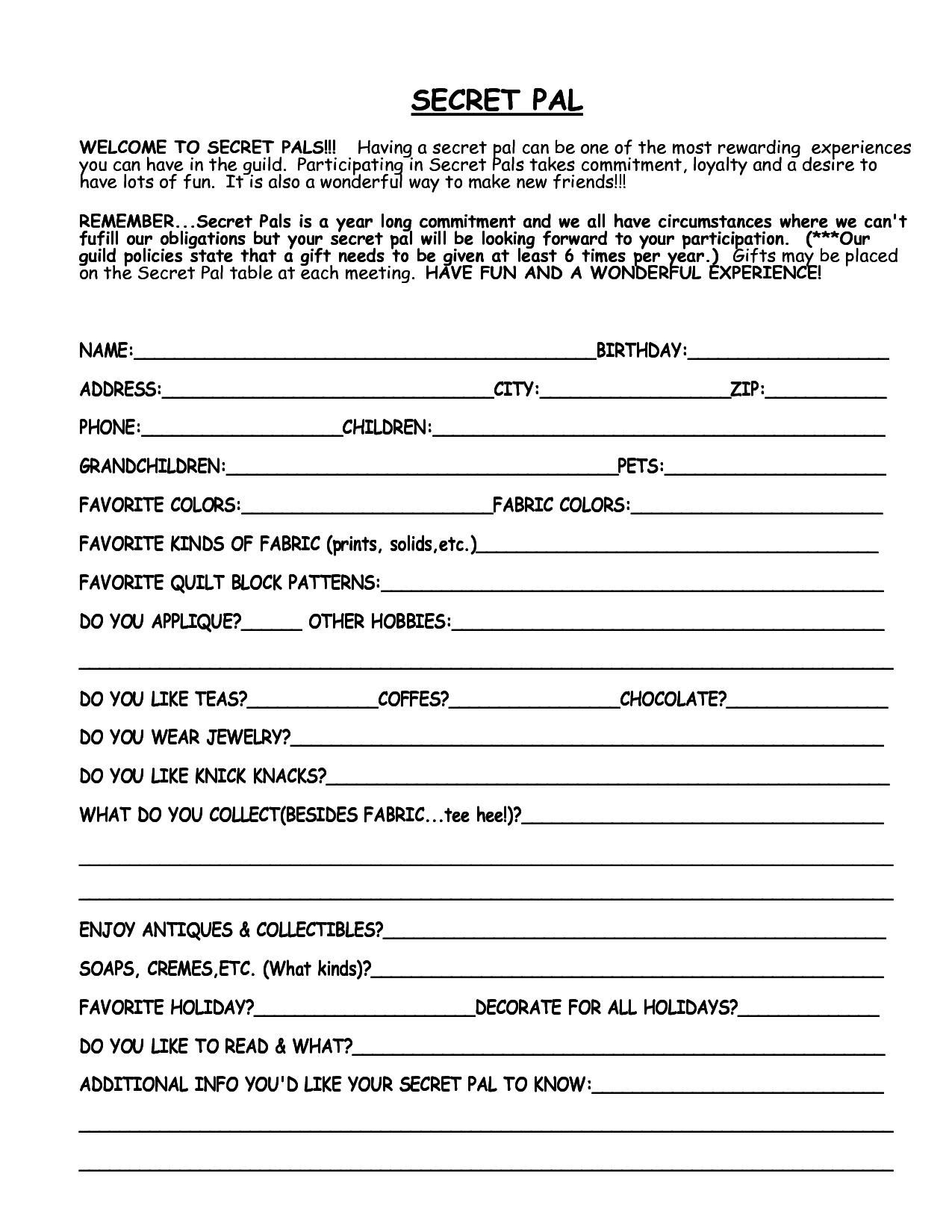 Printable+Secret+Santa+Questionnaire+Template | Misc | Secret Santa - Free Printable Secret Pal Forms