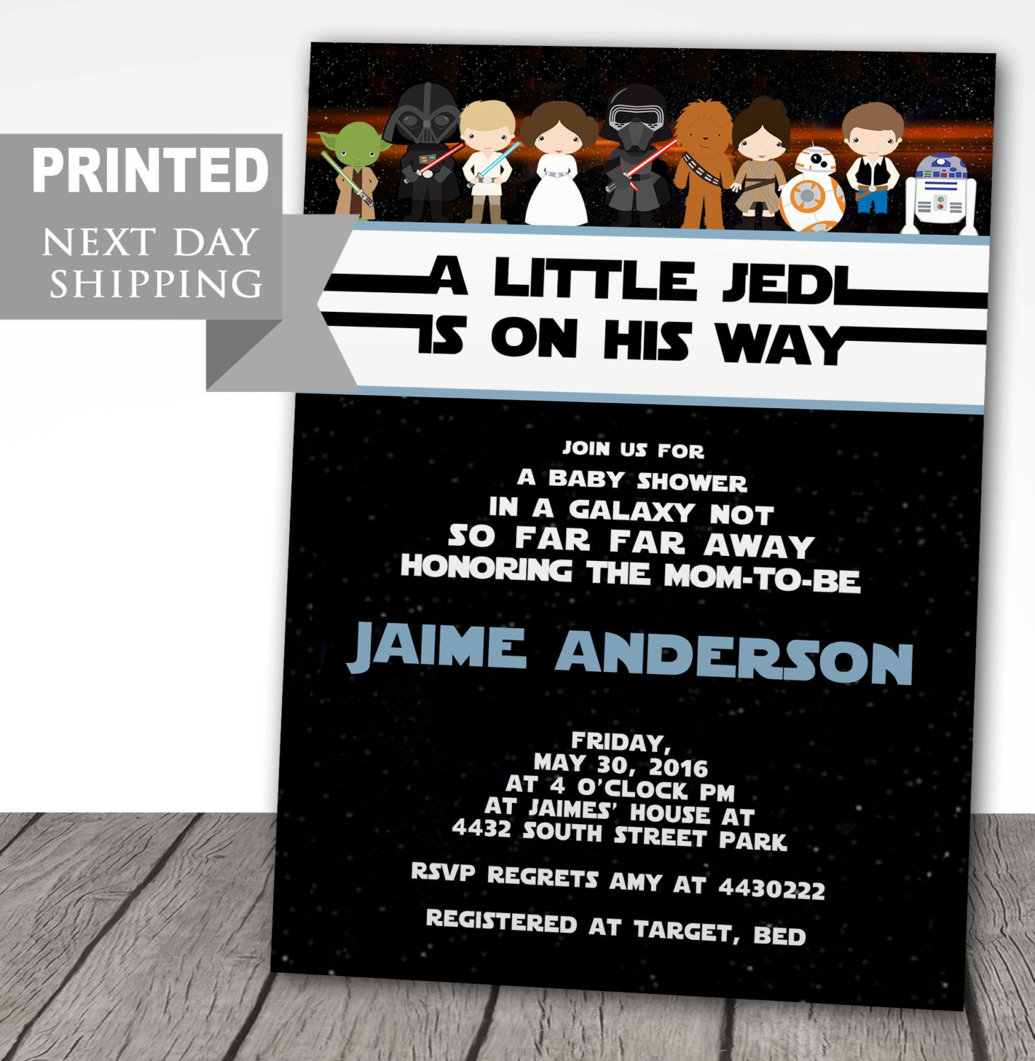 Printed Star Wars Baby Shower Invitations Starwars Baby | Etsy - Free Printable Star Wars Baby Shower Invites