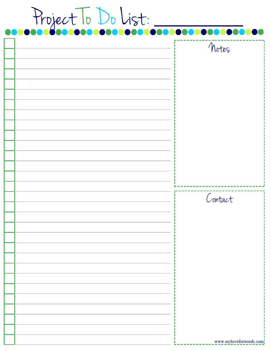 Project To Do List: Free Printable! - Free Printable List