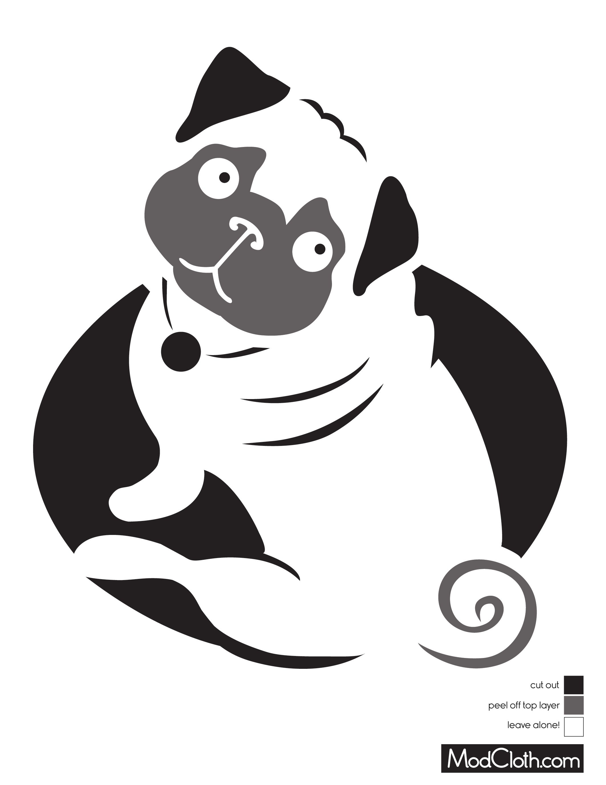 Pug Dog Silhouette Free Halloween Pumpkin Carving Stencil Design - Free Printable Pumpkin Carving Templates Dog