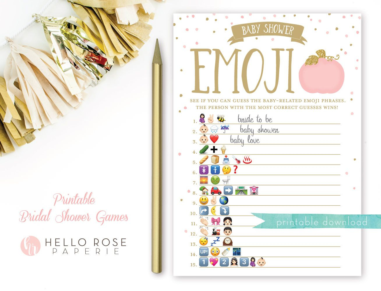 Pumpkin Baby Shower Emoji Pictionary Game + Answer Key Pink And Gold - Wedding Emoji Pictionary Free Printable