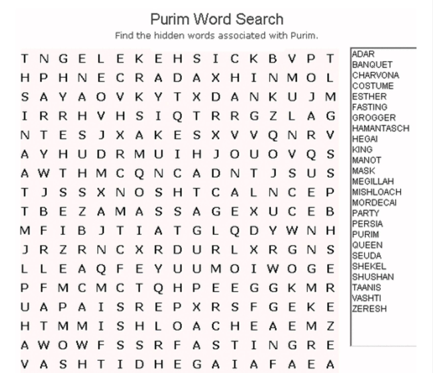 Purim Word Search | Kitah Dalet | Free Word Search Puzzles, Word - Free Printable General Knowledge Crossword Puzzles