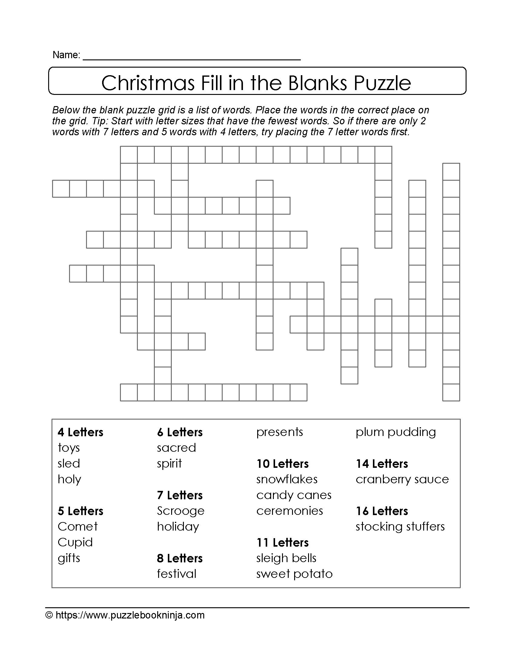 Puzzles To Print. Free Xmas Theme Fill In The Blanks Puzzle - Free Printable Fill In Puzzles