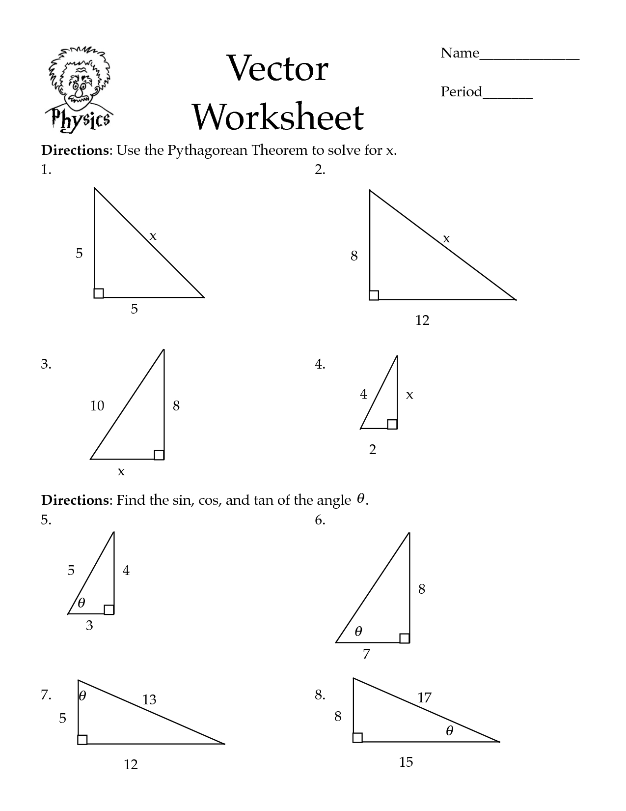 Pythagorean Theorem Worksheets | Cos Law Worksheet - Pdf | Math - Free Printable Pythagorean Theorem Worksheets