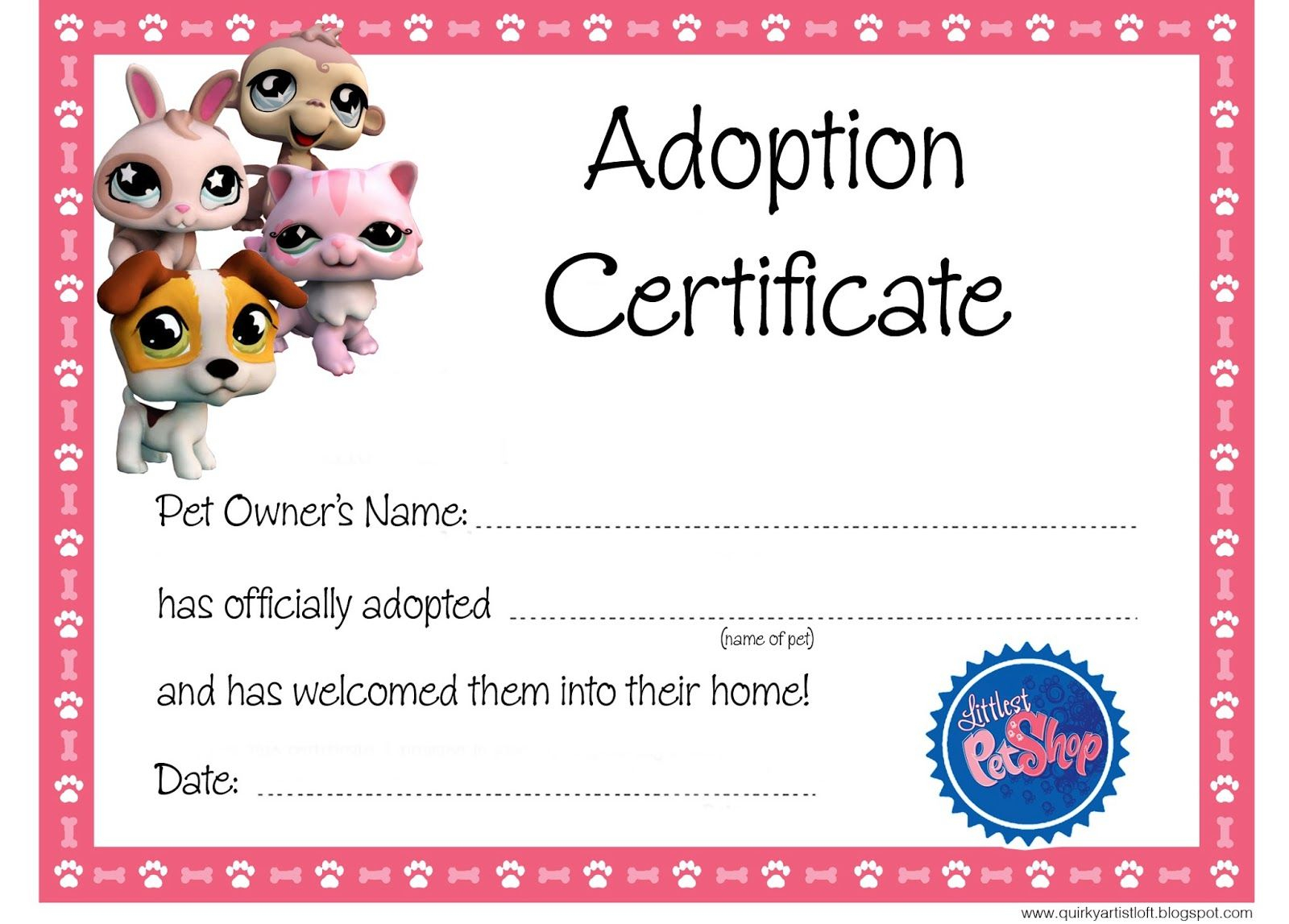 Quirky Artist Loft: Littlest Pet Shop Party - Free Adoption - Free Printable Stuffed Animal Adoption Certificate