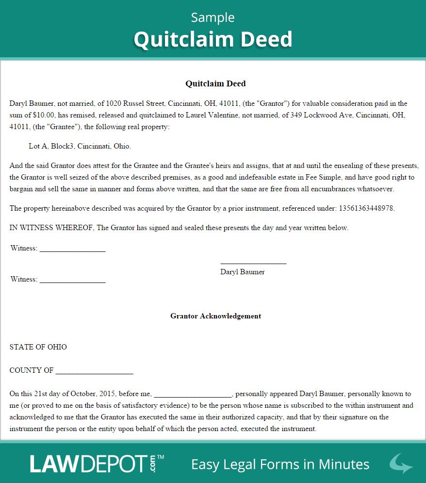 Quitclaim Deed | Free Quitclaim Deed Form (Us) | Lawdepot - Free Printable Quit Claim Deed Washington State Form