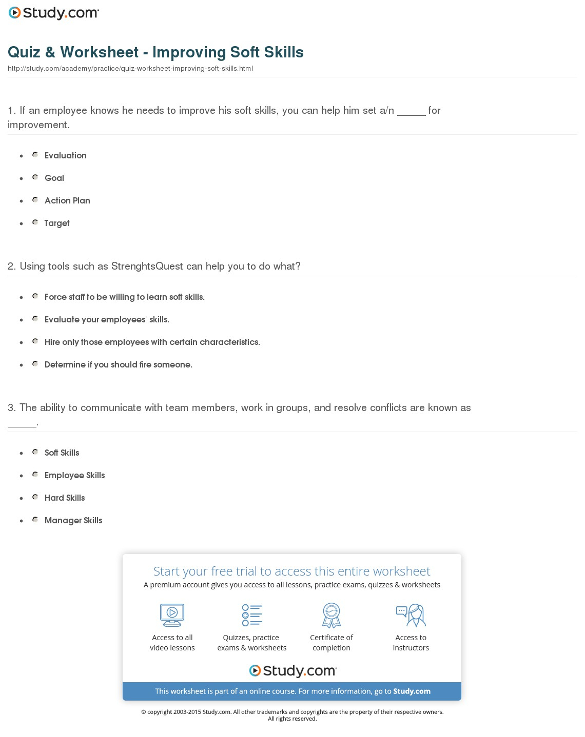 Quiz & Worksheet - Improving Soft Skills   Study - Free Library Skills Printable Worksheets