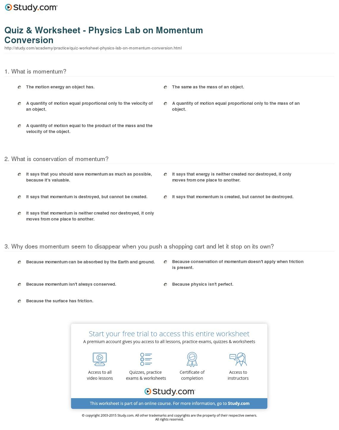 Quiz & Worksheet - Physics Lab On Momentum Conversion | Study - Free Printable Physics Worksheets