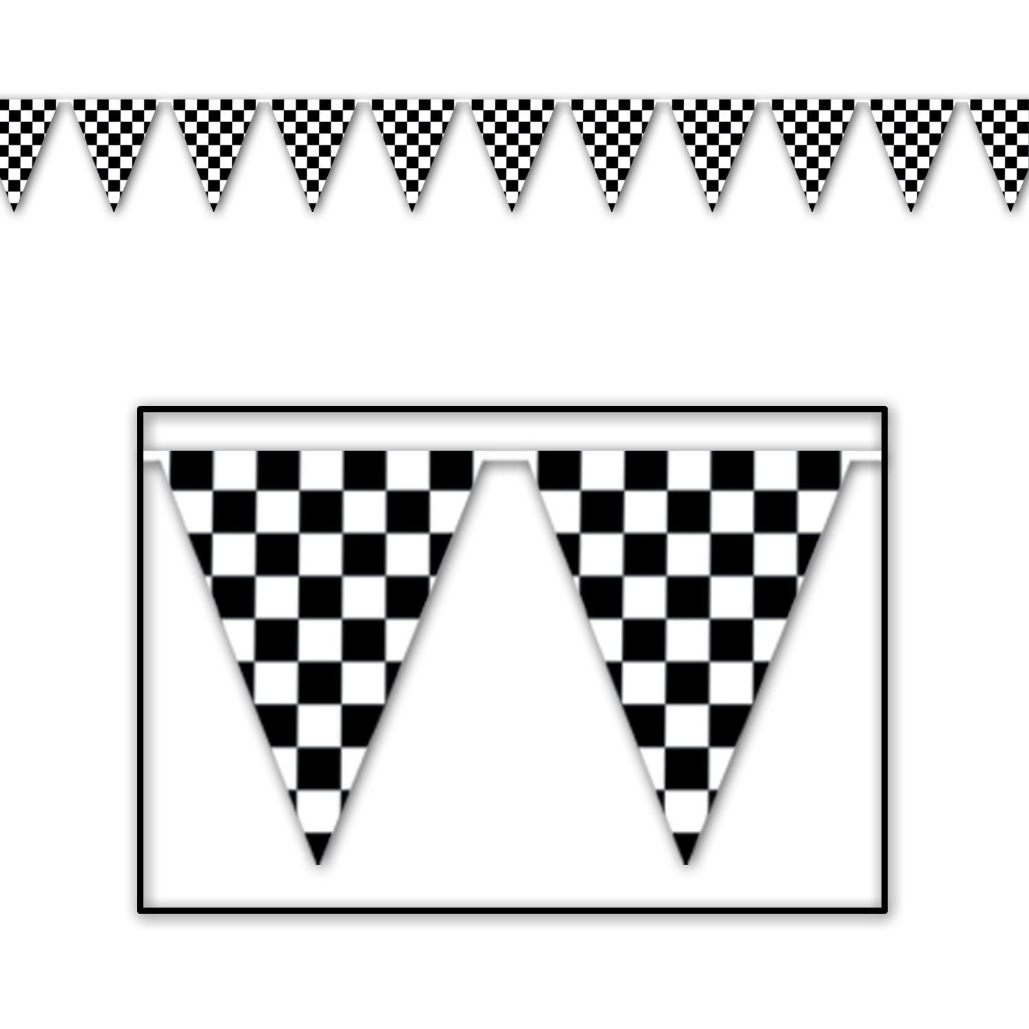 Racing Party Checkered Pennant Banner (12/case) In 2019 | Products - Free Printable Checkered Flag Banner