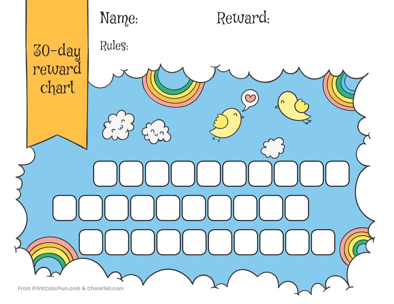 Rainbow & Sky 30-Day Reward Chart For Kids - Free Printable - Free Printable Reward Charts