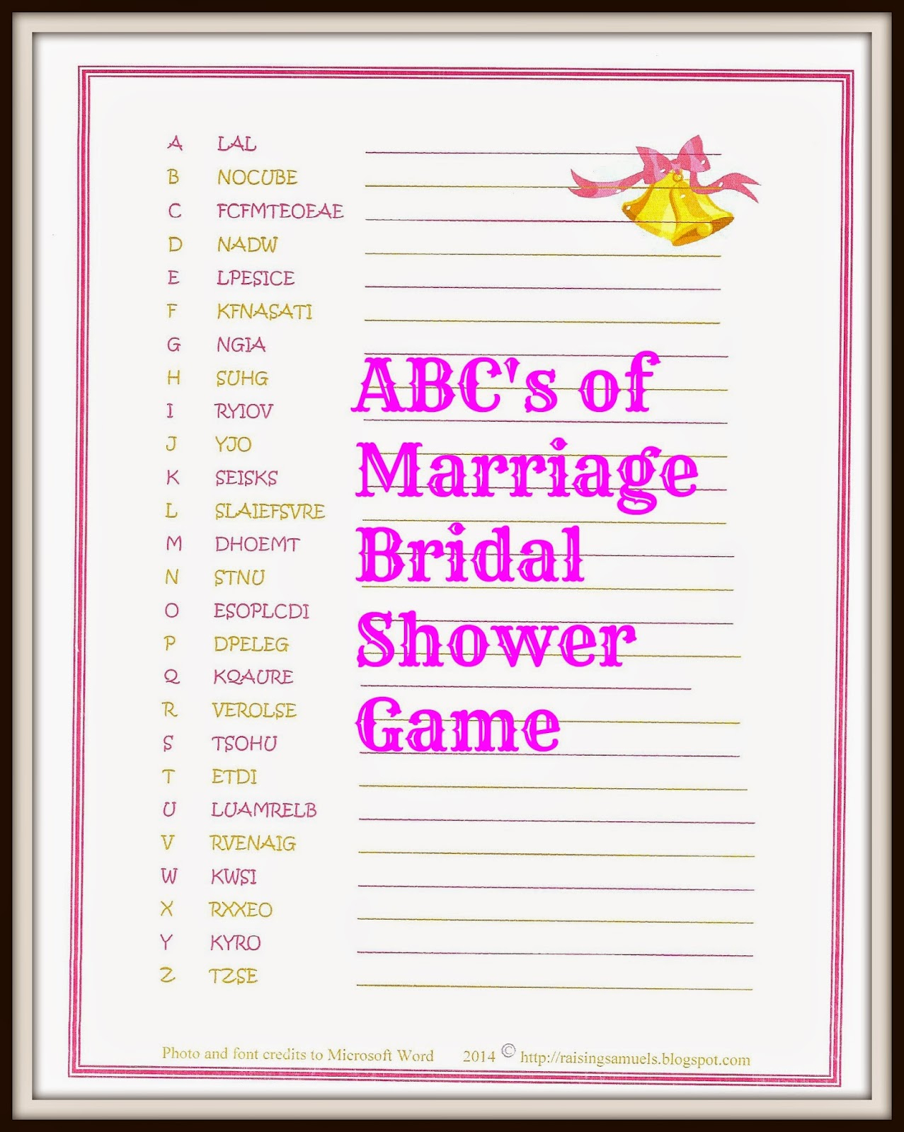 Raising Samuels Life: Free: Abc's Of Marriage Bridal Shower Game - Free Printable Bridal Shower Games Word Scramble
