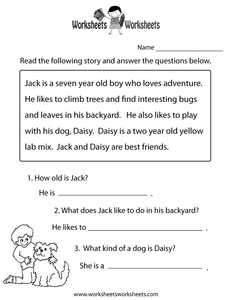 Reading Comprehension Practice Worksheet Printable | Language - Free Printable Reading Comprehension Worksheets