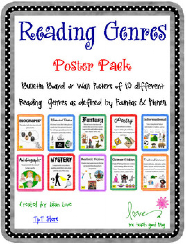 Reading Genre Poster Set With Definitions!me Teach Good | Tpt With - Genre Posters Free Printable
