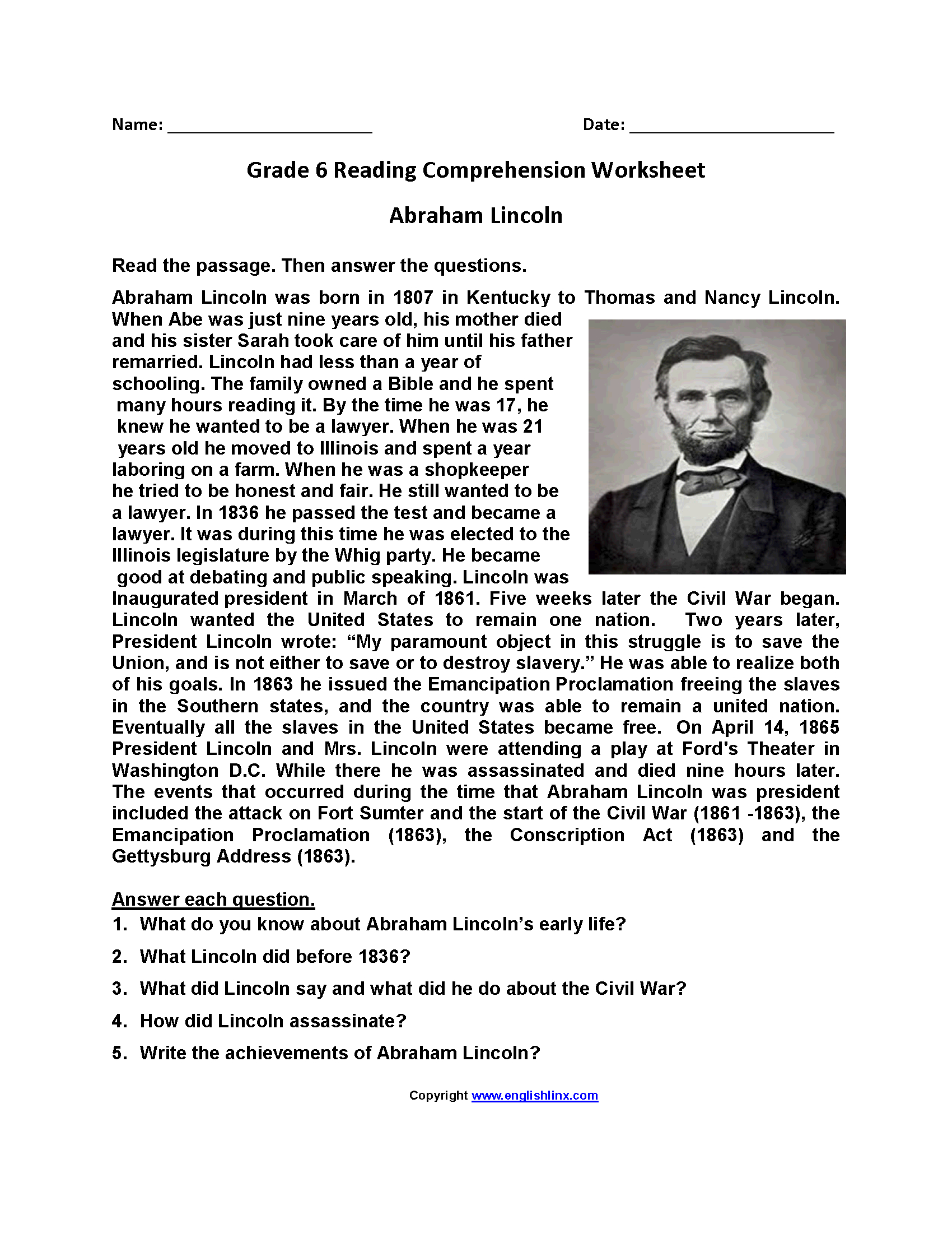 Reading Worksheets | Sixth Grade Reading Worksheets - Free Printable Comprehension Worksheets For Grade 5