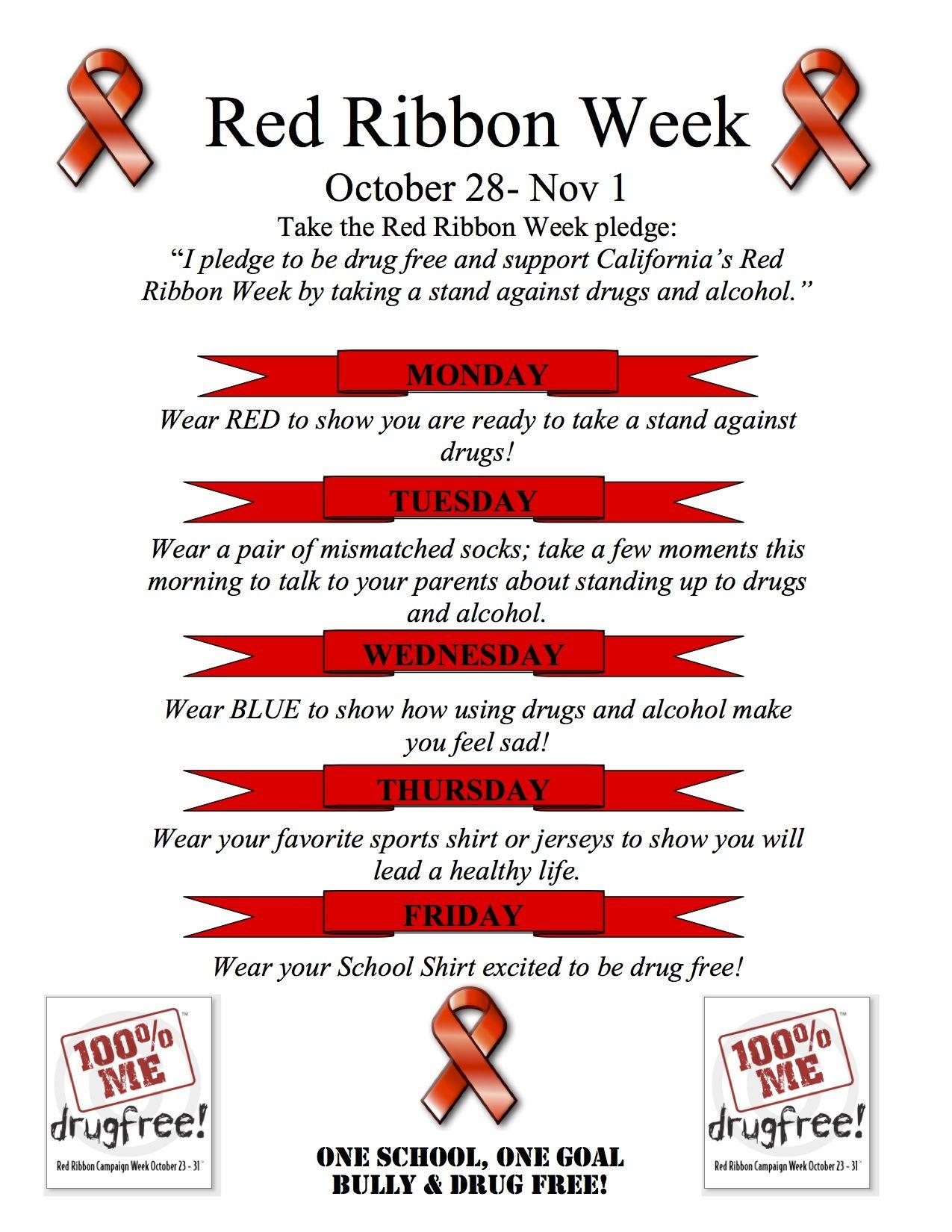Red Ribbon Week Flyer Spirit Days Ideas   Pta Resources & Ideas - Free Printable Drug Free Pledge Cards
