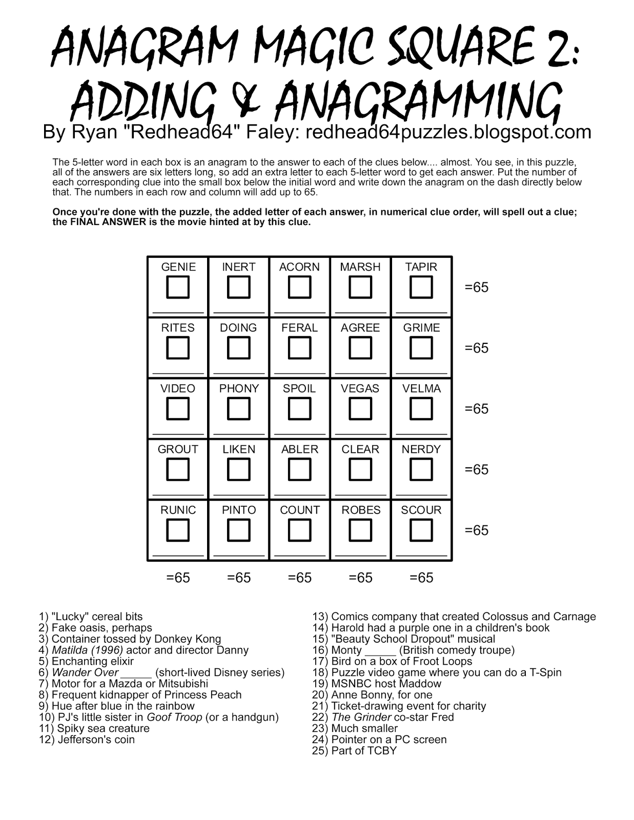 Redhead64's Obscure Puzzle Blog!: Puzzle #93: Anagram Magic Square 2 - Free Printable Anagram Magic Square Puzzles