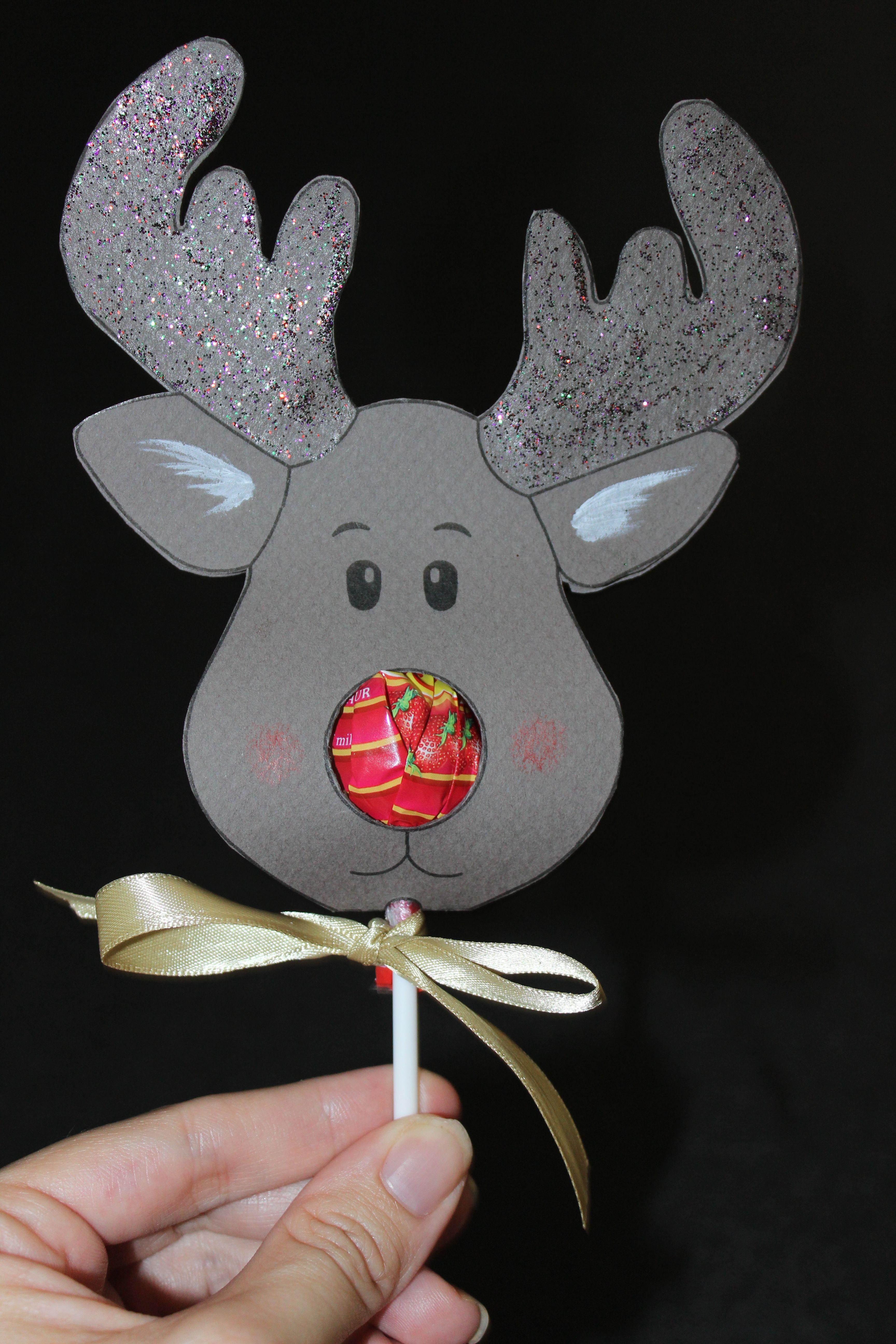Reindeer Lollipop Card Tutorial   Christmas Ideas   Christmas - Free Printable Reindeer Lollipop Template