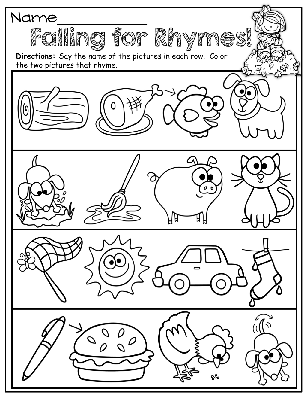 Repinnedmyslpmaterials Visit Our Page For Free Speech - Free Printable Rhyming Activities For Kindergarten