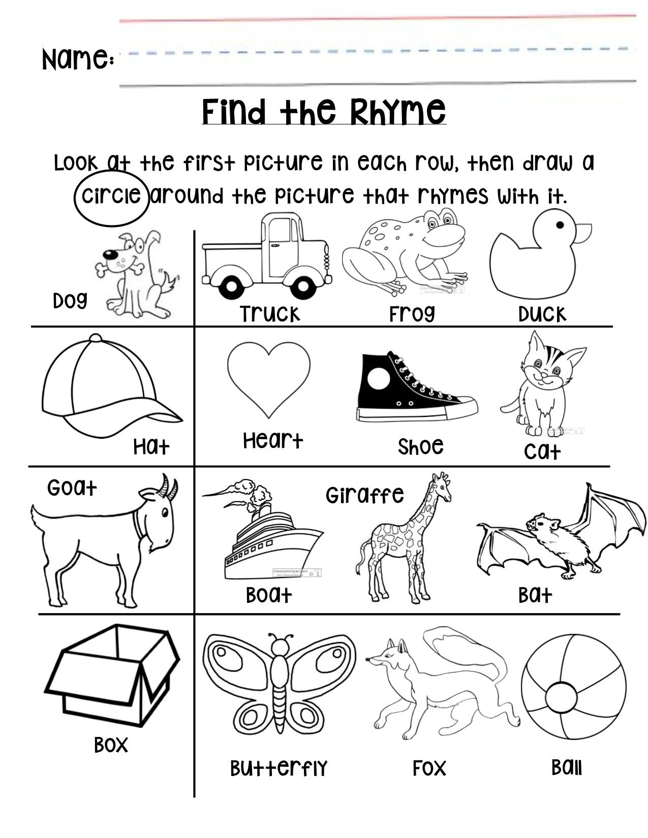 Rhyming Worksheet For Grades Preschool Or Kindergarten Early Pre - Free Printable Rhyming Activities For Kindergarten