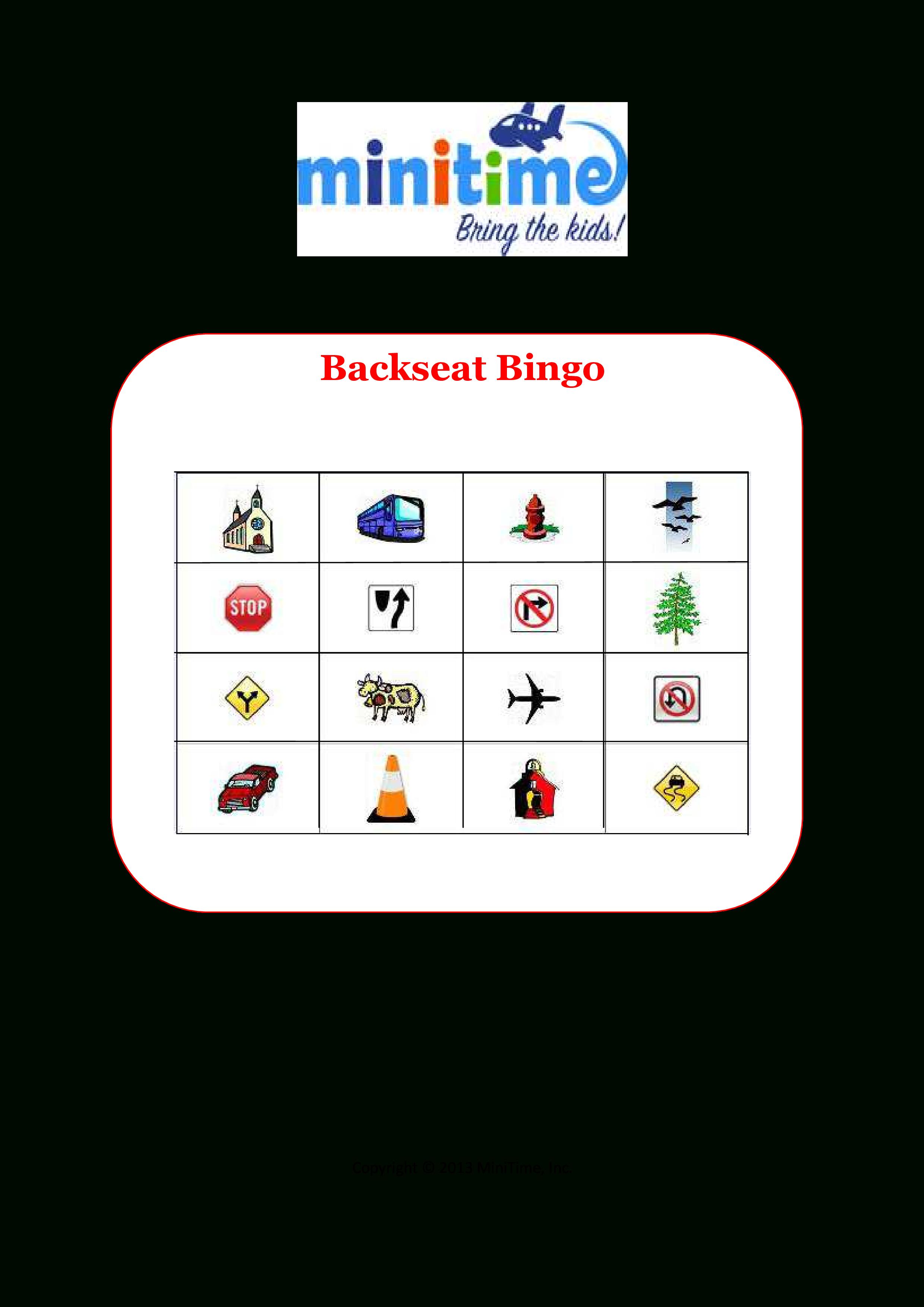 Road Trip Bingo | Free Printable Car Games For Kids | Minitime - Free Printable Car Ride Games