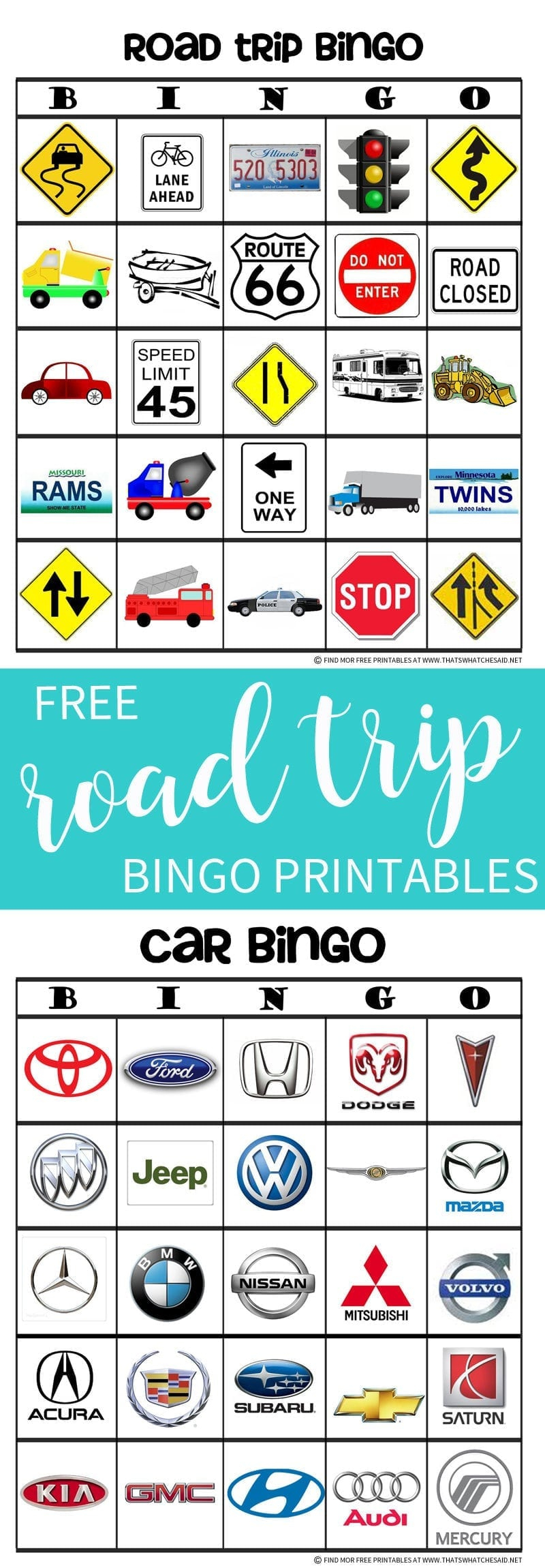 Road Trip Bingo Game Free Printable - That's What Che Said - Free Printable Car Bingo